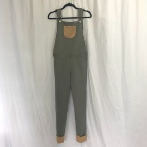 Denim - Olive Green Brown Ponte Overalls XS
